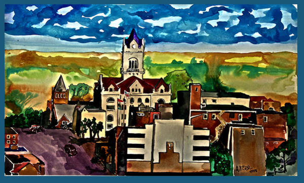 Courthouse Towers Painting - Cole County Courthouse by Dennis Weiser