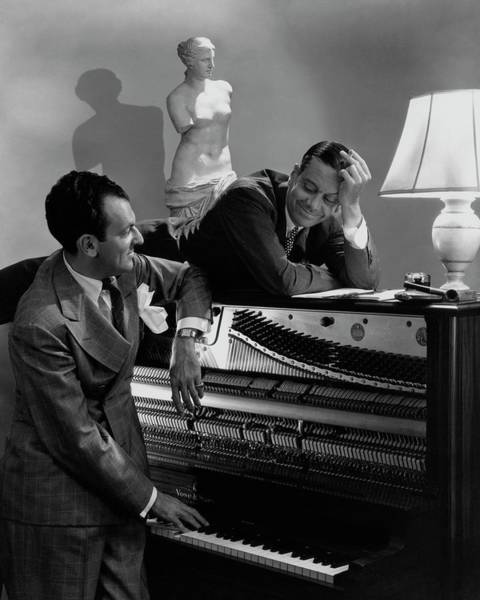 Male Photograph - Cole Porter And Moss Hart At A Piano by Lusha Nelson