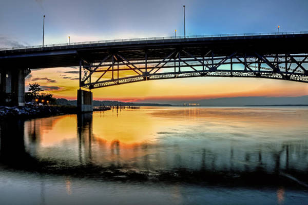 Photograph - Coleman Bridge At Sunset Two by Jerry Gammon