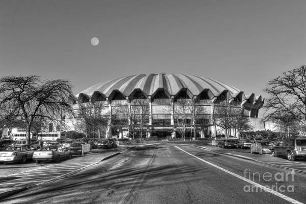 Photograph - Coliseum Black And White With Moon by Dan Friend
