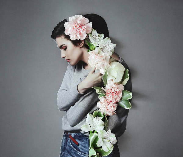 Gray Hair Photograph - Collage With Female Portrait And Flowers by Vasilina Popova