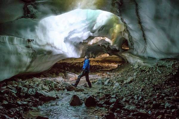 Cavern Photograph - Collapsed Ceiling Of A Glacial Tunnel by Peter J. Raymond