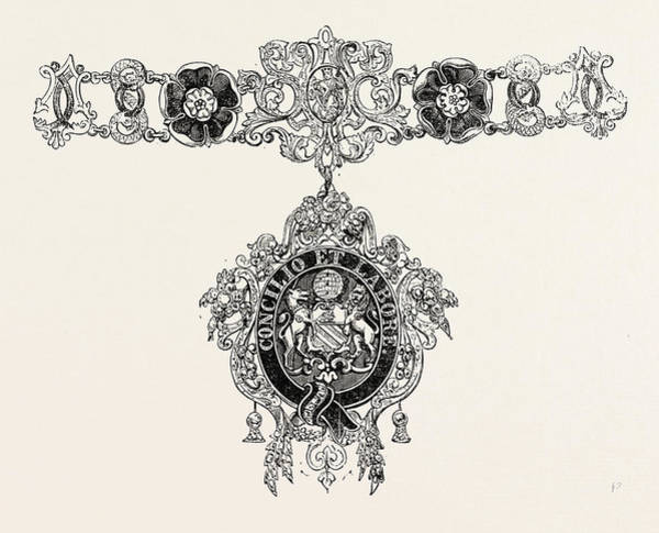 Manchester Drawing - Collars And Jewel Of The Mayor Of Manchester by English School
