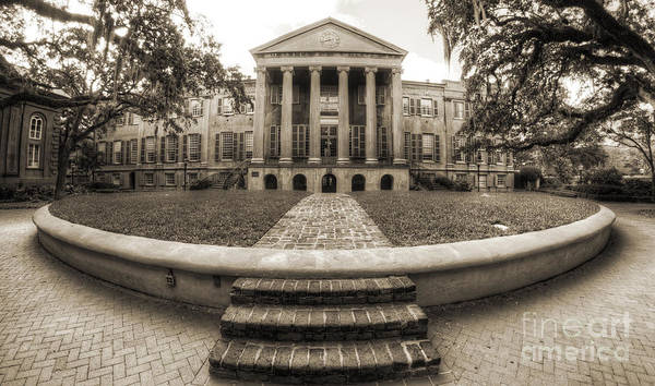 Photograph - College Of Charleston Randolph Hall Cistern Sepia by Dustin K Ryan