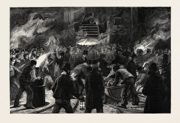 Explosion Drawing - Colliery Explosion At Llanerch, Monmouthshire by English School