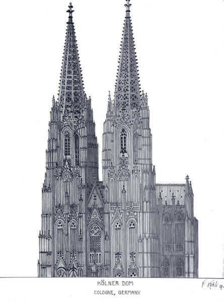 Pen And Ink Mixed Media - Cologne Cathedral by Frederic Kohli