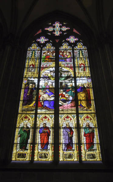 Wall Art - Photograph - Cologne Cathedral Stained Glass Window Of The Lamentation by Teresa Mucha