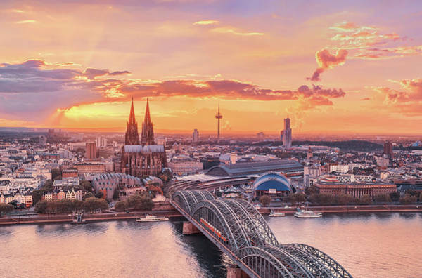 Rhine River Photograph - Cologne Sunset From Above by Matthias Haker Photography