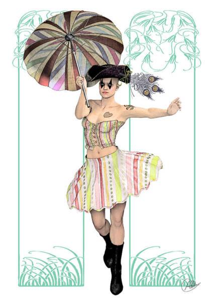 Commedia Dell Digital Art - Columbine Pirate Girl by Quim Abella