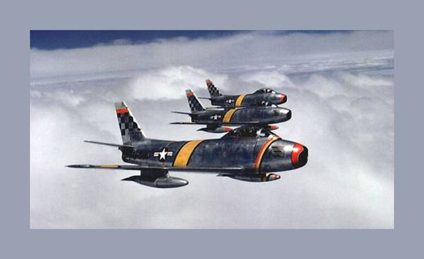 Wall Art - Photograph - Colonel Ben O. Davis Leads Flight F 86 Sabres Over Korea Small Border  by L Brown