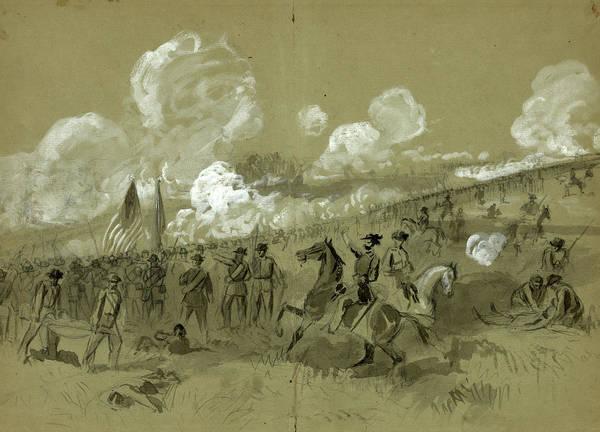 Brigade Drawing - Colonel Burnsides Brigade At Bull Run, Drawing, 1862-1865 by Quint Lox