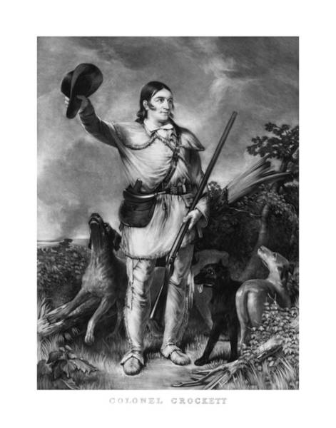 Patriot Drawing - Colonel Davy Crockett by War Is Hell Store