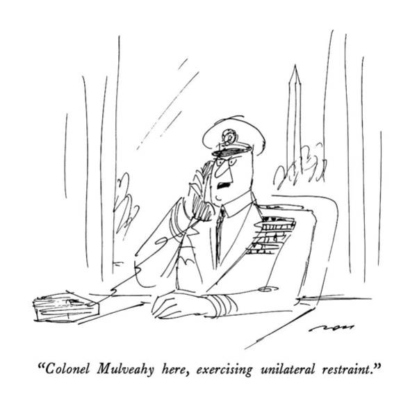 Military Exercise Drawing - Colonel Mulveahy Here by Al Ross
