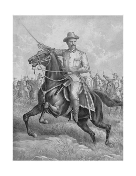 Wall Art - Drawing - Colonel Roosevelt Leading Troops by War Is Hell Store