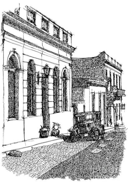 Old Car Drawing - Old Ford On Colonia Uruguay by Drawspots Illustrations