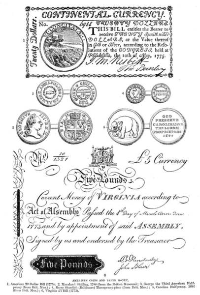 Photograph - Colonial American Currency by Granger