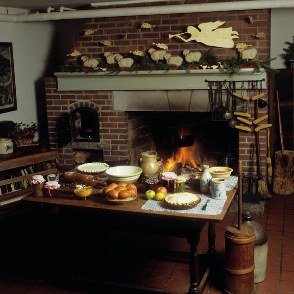 Williamsburg Photograph - Colonial Design Kitchen Interior by Vintage Images