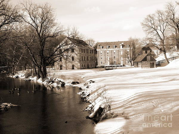 Monocacy Wall Art - Photograph - Colonial Industrial Quarter - Full View - Sepia by Jacqueline M Lewis
