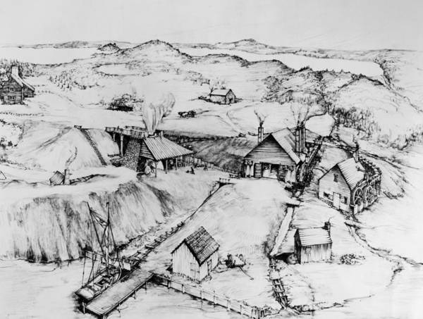 Reconstruction Drawing - Colonial Iron Works by Granger