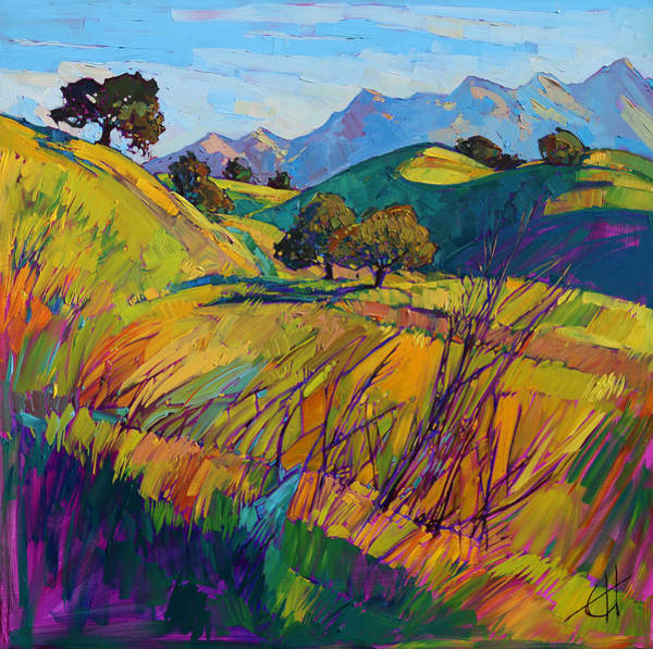 California Landscape Painting - Color Curves by Erin Hanson