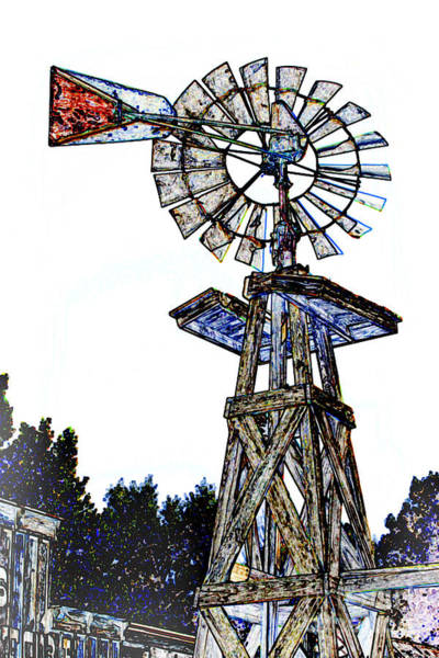 Mixed Media - Color Drawing Antique Windmill 3005.05 by M K Miller