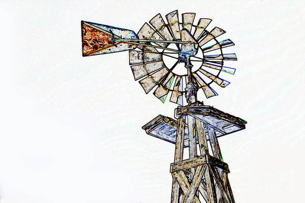 Drawing - Color Drawing Of Old Windmill 3009.04 by M K Miller