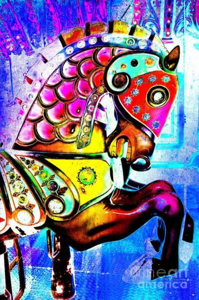 Carousel Digital Art - Color Explosion Carrousel Horse by Patty Vicknair
