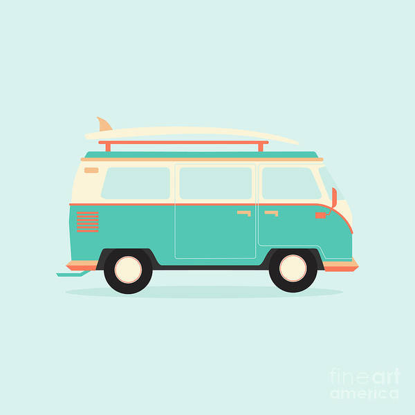 California Beaches Digital Art - Color Full Surfer Van. Transportation by Guaxinim