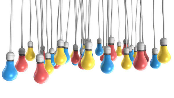 Cable Digital Art - Color Hanging Light Bulbs by Allan Swart