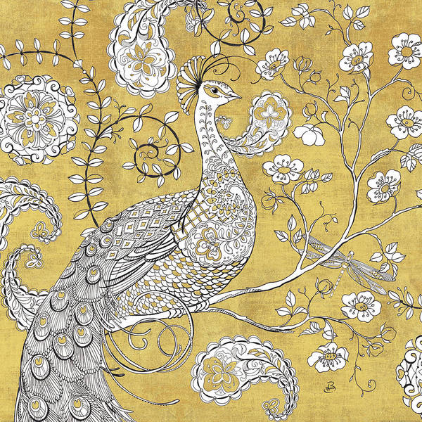 Metallic Painting - Color My World Ornate Peacock I Gold by Daphne Brissonnet