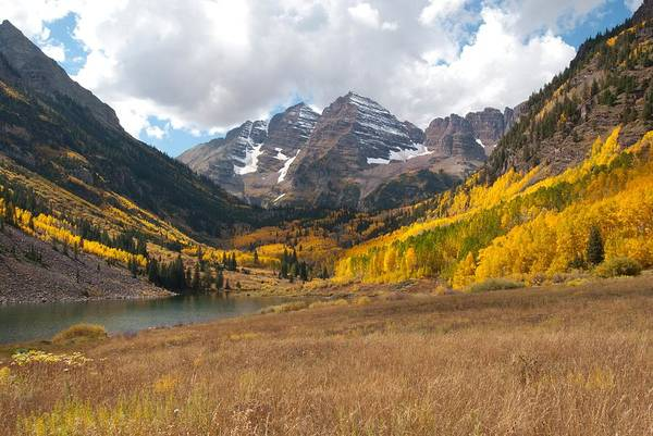 Fourteener Photograph - Colorado Maroon Bells In Autumn by Cascade Colors