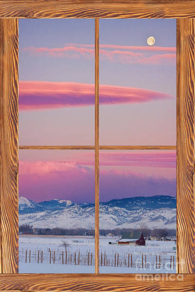 Unframed Wall Art - Photograph - Colorado Moon Sunrise Barn Wood Picture Window View by James BO Insogna