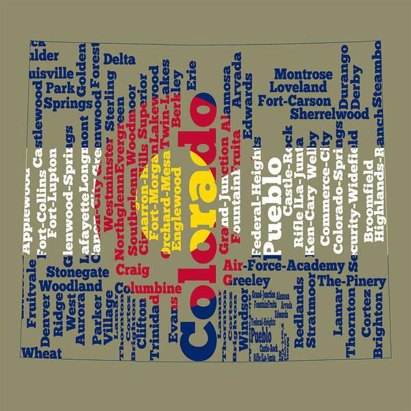 Wall Art - Digital Art - Colorado State Flag Word Cloud by Brian Reaves