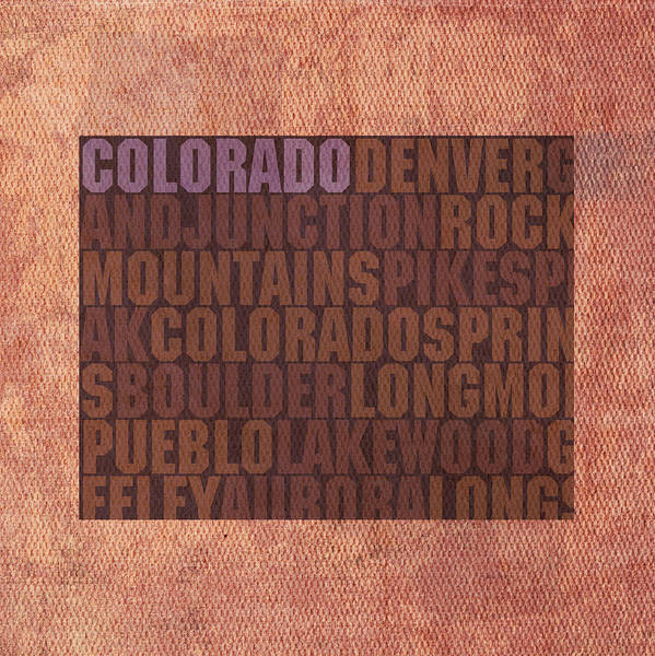Spring Mountains Mixed Media - Colorado Word Art State Map On Canvas by Design Turnpike