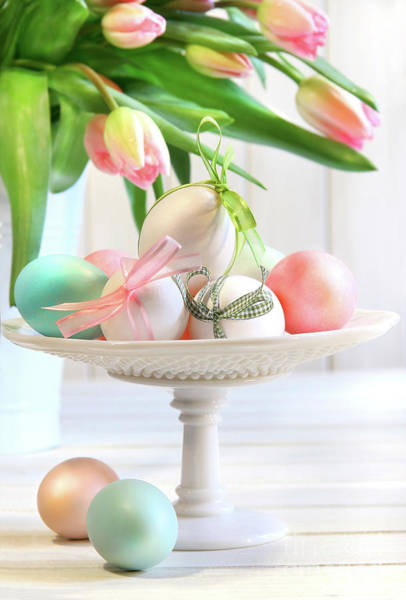 Photograph - Colored Eggs With Bows And Tulips by Sandra Cunningham
