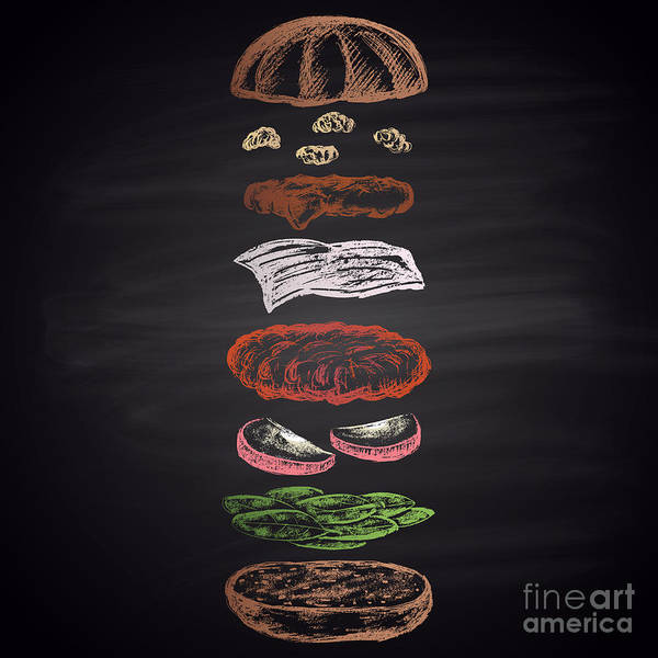 Bread Wall Art - Digital Art - Colored Illustration Of Chalk Drawn by Anat om