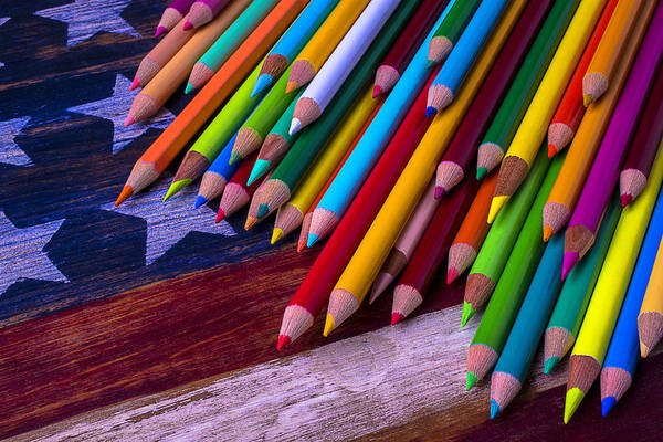 Pencil Drawing Photograph - Colored Pencils On Wooden Flag by Garry Gay
