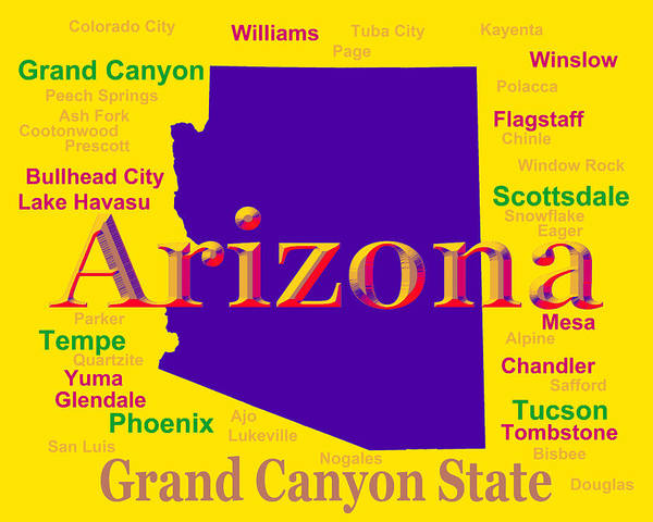 Tombstone Arizona Photograph - Colorful Arizona State Pride Map Silhouette  by Keith Webber Jr