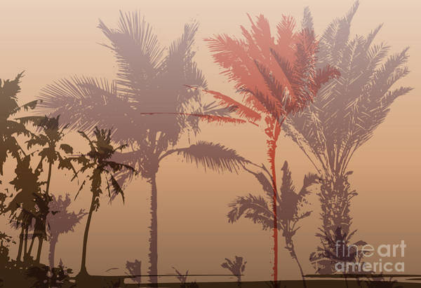 Leaf Digital Art - Colorful Background With Silhouette Of by Romas photo