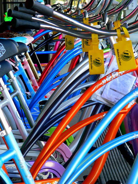 Photograph - Colorful Beach Cruiser Bikes by Jeff Lowe