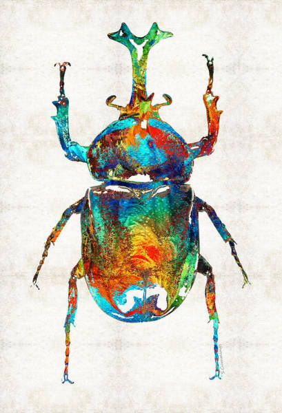 Ancient Egypt Painting - Colorful Beetle Art - Scarab Beauty - By Sharon Cummings by Sharon Cummings