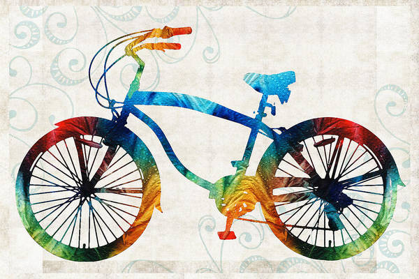 Cruiser Painting - Colorful Bike Art - Free Spirit - By Sharon Cummings by Sharon Cummings