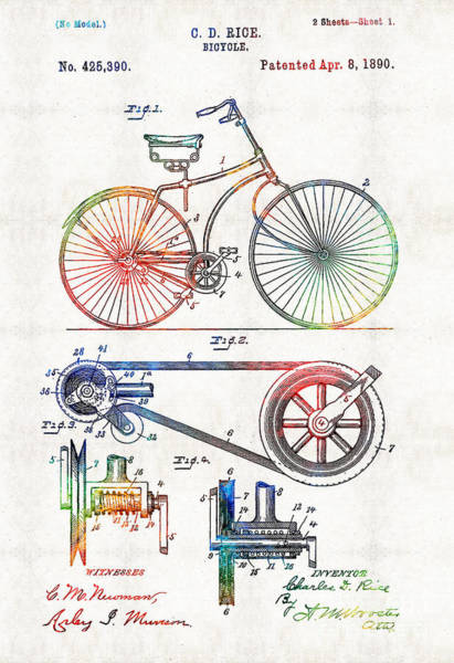 Masculine Painting - Colorful Bike Art - Vintage Patent - By Sharon Cummings by Sharon Cummings