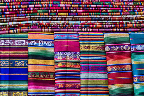Colorful Photograph - Colorful Blankets Santa Fe by Carol Leigh