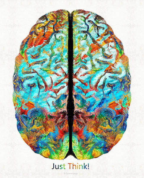 Wall Art - Painting - Colorful Brain Art - Just Think - By Sharon Cummings by Sharon Cummings