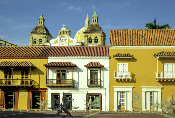 Cartagena Photograph - Colorful Buildings And Church Domes by Jerry Ginsberg