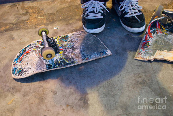 Photograph - Colorful Busted Skateboard With Shoes  by Kate Sumners