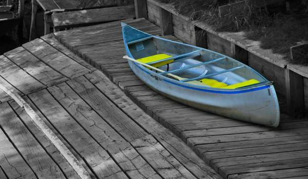 Dock Of The Bay Photograph - Colorful Canoe On The Dock by Dan Sproul