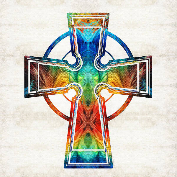 Wall Art - Painting - Colorful Celtic Cross By Sharon Cummings by Sharon Cummings