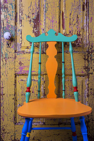 Doorknob Photograph - Colorful Chair And Old Door by Garry Gay